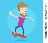 a hipster man with the beard... | Shutterstock .eps vector #485065744