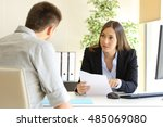 guy and businesswoman talking... | Shutterstock . vector #485069080