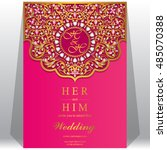 wedding invitation or card with ... | Shutterstock .eps vector #485070388