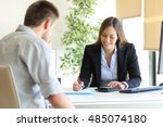 happy professional agent and... | Shutterstock . vector #485074180