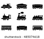 Train Isolated Black Icons...