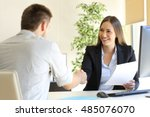 successful job interview with... | Shutterstock . vector #485076070