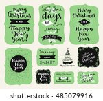 set of merry christmas and... | Shutterstock .eps vector #485079916
