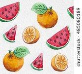 watercolor orange and... | Shutterstock . vector #485080189