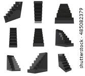 black up stairs set. 3d render... | Shutterstock . vector #485082379