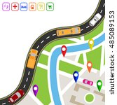 road infographics. winding road ... | Shutterstock .eps vector #485089153