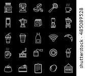 coffee shop line icons on black ... | Shutterstock .eps vector #485089528