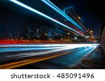 blurred traffic light trails on ... | Shutterstock . vector #485091496