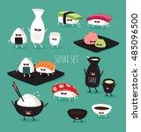 funny sushi set. bottle of sake ... | Shutterstock .eps vector #485096500