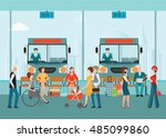 bus terminal with bus limousine ... | Shutterstock .eps vector #485099860