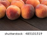 ripe peaches on old rustic... | Shutterstock . vector #485101519