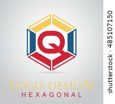 q letter in the hexagonal logo. ...