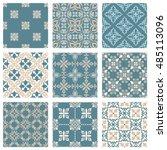 set of nine vector seamless... | Shutterstock .eps vector #485113096