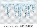 Hanging translucent icicles with snow in blue colors on transparent background. Transparency only in vector file