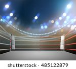 boxing ring with illumination... | Shutterstock . vector #485122879