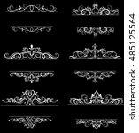 vintage vector swirl frame set | Shutterstock .eps vector #485125564