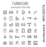 Stock vector set of furniture icons in modern thin line style high quality black outline home symbols for web 485130376