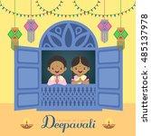 diwali   deepavali vector...   Shutterstock .eps vector #485137978
