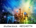 modern factory building and... | Shutterstock . vector #485140774