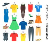 woman and man clothes set.... | Shutterstock .eps vector #485142319
