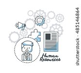 human resources flat line icons ... | Shutterstock .eps vector #485146864