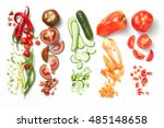 collection of vegetables... | Shutterstock . vector #485148658