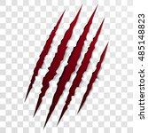 claw scratch mark. vector bear... | Shutterstock .eps vector #485148823
