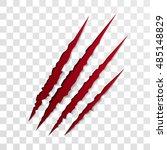 claw scratch mark. vector bear... | Shutterstock .eps vector #485148829