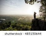 man traveler is talking on the...   Shutterstock . vector #485150644