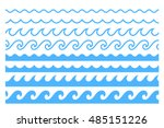 blue line wave ornament.... | Shutterstock .eps vector #485151226