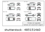 car sedan and suv drawing... | Shutterstock .eps vector #485151460