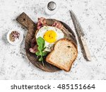 toast with fried egg  bacon and ... | Shutterstock . vector #485151664