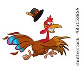 happy turkey cartoon running.... | Shutterstock .eps vector #485153839