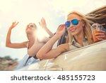 attractive happy girls in... | Shutterstock . vector #485155723
