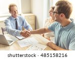 handsome middle aged realtor in ... | Shutterstock . vector #485158216