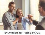 handsome realtor in classic... | Shutterstock . vector #485159728