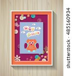 poster. baby invitation shower... | Shutterstock .eps vector #485160934