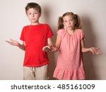 children rejecting the... | Shutterstock . vector #485161009