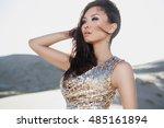 beautiful asian woman in luxury ... | Shutterstock . vector #485161894