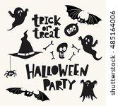 set of cartoon style halloween... | Shutterstock .eps vector #485164006