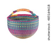 Colorful Straw Basket Isolated...