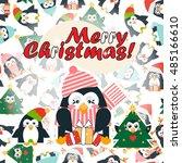 vector cartoon greeting card.... | Shutterstock .eps vector #485166610