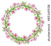 watercolor wreath with bright... | Shutterstock . vector #485169538