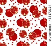 red fresh pomegranate pattern... | Shutterstock .eps vector #485173114