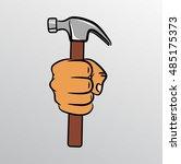 fist holding a hammer  vector...   Shutterstock .eps vector #485175373