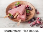 raspberry popsicle with berries ... | Shutterstock . vector #485180056