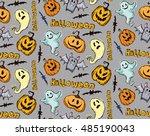seamless pattern for halloween. ...   Shutterstock .eps vector #485190043