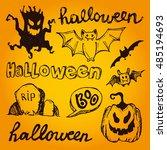 halloween hand drawn characters ... | Shutterstock .eps vector #485194693