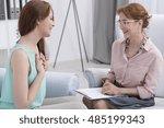 grateful female patient in the... | Shutterstock . vector #485199343
