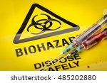 blood filled medical syringes... | Shutterstock . vector #485202880